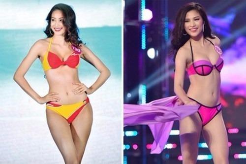 """Hoa hậu Phạm Hương (phải) và """"bản sao"""" thí sinh Nguyễn Thị Thành"""