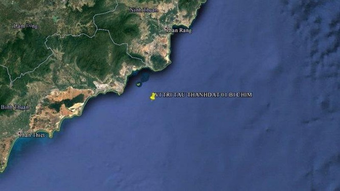 Vị trí tàu Thanh Dat 01 bị chìm - Ảnh: Vietnam MRCC