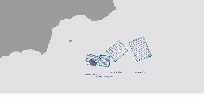 Phân vùng tìm kiếm 2 thuyền viên của tàu Thanh Dat 01 còn mất tích - Ảnh: Vietnam MRCC