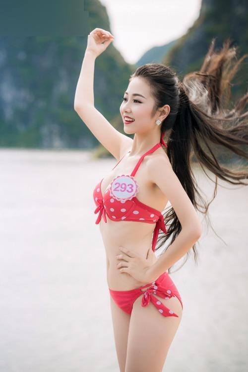 Bùi Nữ Kiều Vỹ cao 1m71, nặng 49kg và sở hữu số đo ba vòng 83-61-89.