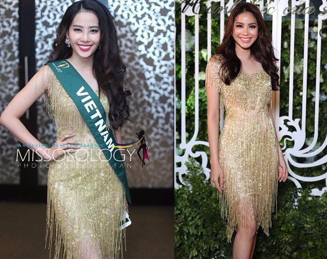 Thiết kế tua rua ánh kim được hoa khôi Nam Em diện trong tiệc gặp gỡ 82 thí sinh Miss Earth 2016 từng được Phạm Hương diện trước đó. Ảnh: ZING