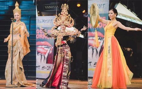 Top 3 trang phục dân tộc đẹp nhất: Thái Lan, Indonesia và Việt Nam (từ trái sang). Ảnh VNE.