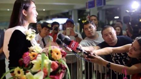 Lệ Hằng được báo chí quốc tế quan tâm khi đến Philippines để ghi hình quảng bá. Ảnh Ngôi sao.