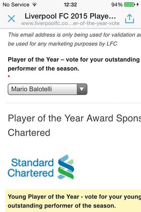Hài hước: CĐV 'đua nhau' bầu Balotelli là cầu thủ xuất sắc nhất Liverpool - ảnh 3
