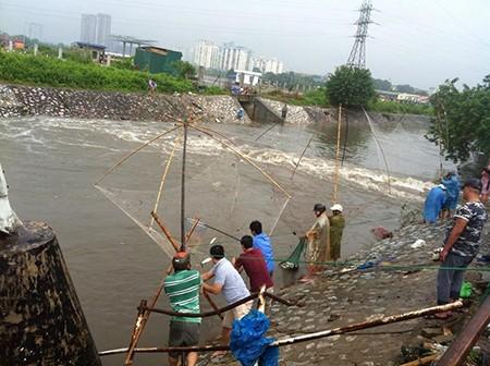 Người Hà Nội 'nô nức' ra sông bắt cá sau cơn mưa lớn  - ảnh 7