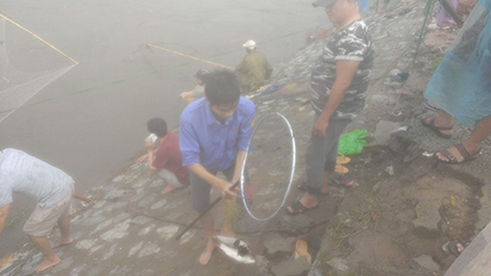 Người Hà Nội 'nô nức' ra sông bắt cá sau cơn mưa lớn  - ảnh 5