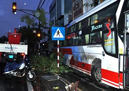 Xe khách mất lái húc đổ cây, lao vào nhà dân - ảnh 1