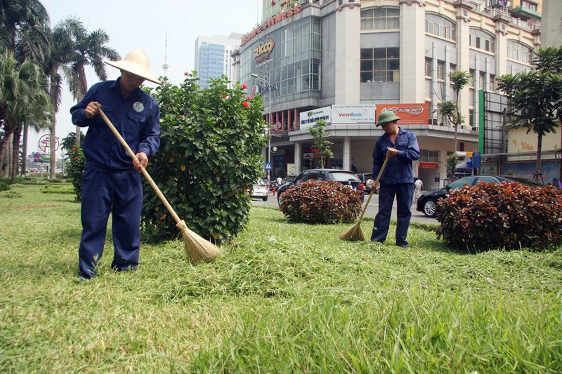 Hà Nội cắt tỉa cỏ trở lại sau 3 tháng 'án binh' - ảnh 6