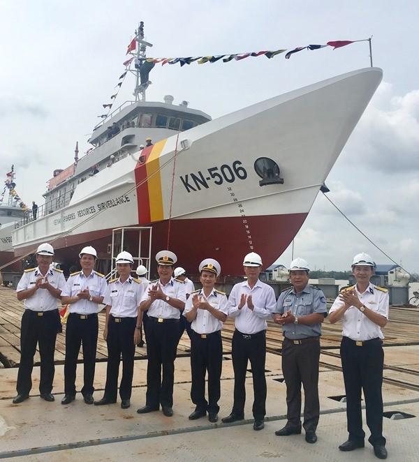 Hạ thuỷ 2 tàu kiểm ngư vỏ thép chạy 19 hải lý/giờ - ảnh 1