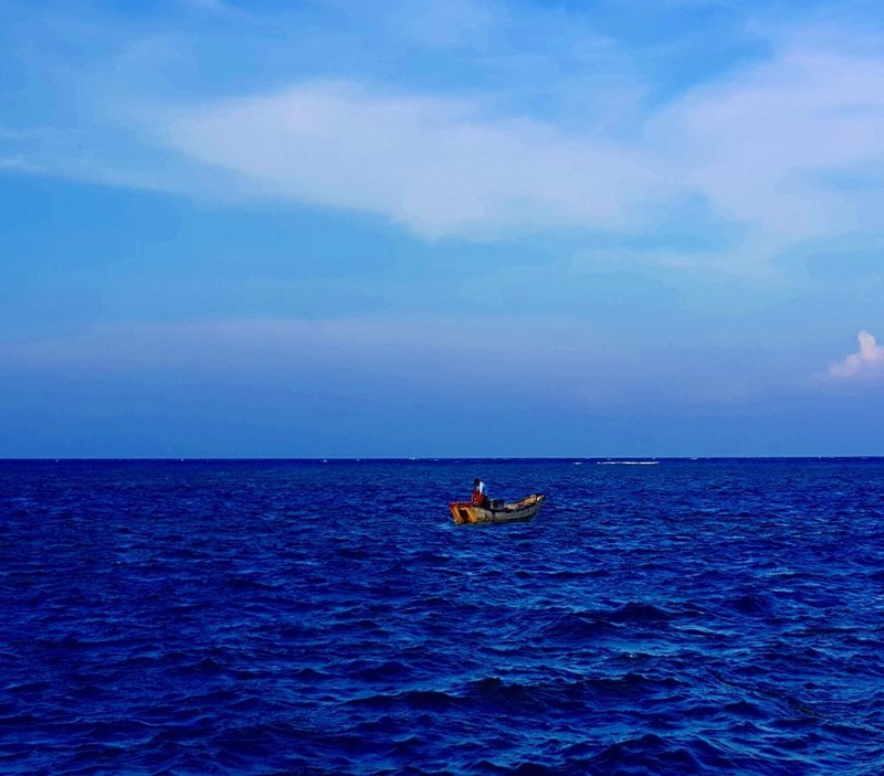 Công một mình hành nghề săn cá nhái trên biển.