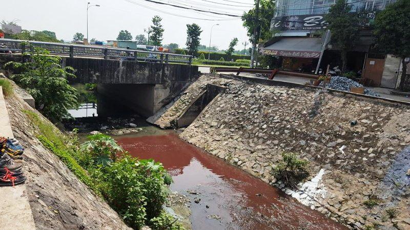 Nước kênh gần sân bay Tân Sơn Nhất có màu đỏ lòm.