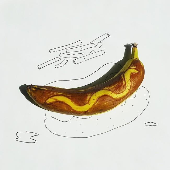 Những bức tranh minh họa hài hước được vẽ từ chuối - ảnh 14
