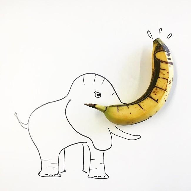 Những bức tranh minh họa hài hước được vẽ từ chuối - ảnh 5