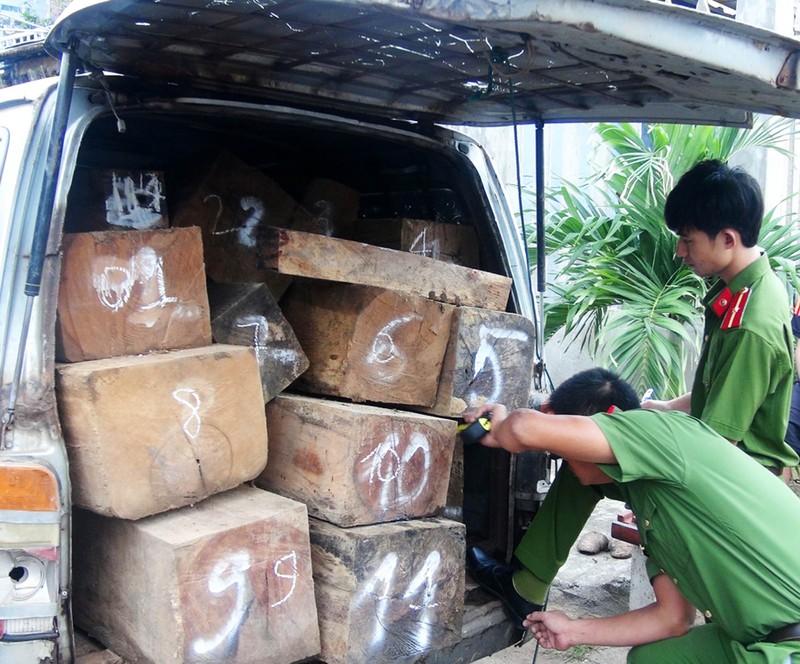 Lực lượng chức năng kiểm đếm gỗ vận chuyển trái phép trên chiếc xe lao vào gác chắn. Ảnh: CTV