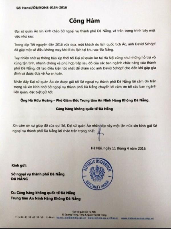 Đại sứ quán Áo gửi công hàm cảm ơn đến Đà Nẵng  - ảnh 1