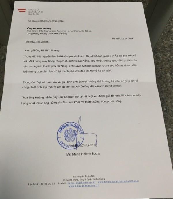 Đại sứ quán Áo gửi công hàm cảm ơn đến Đà Nẵng  - ảnh 2