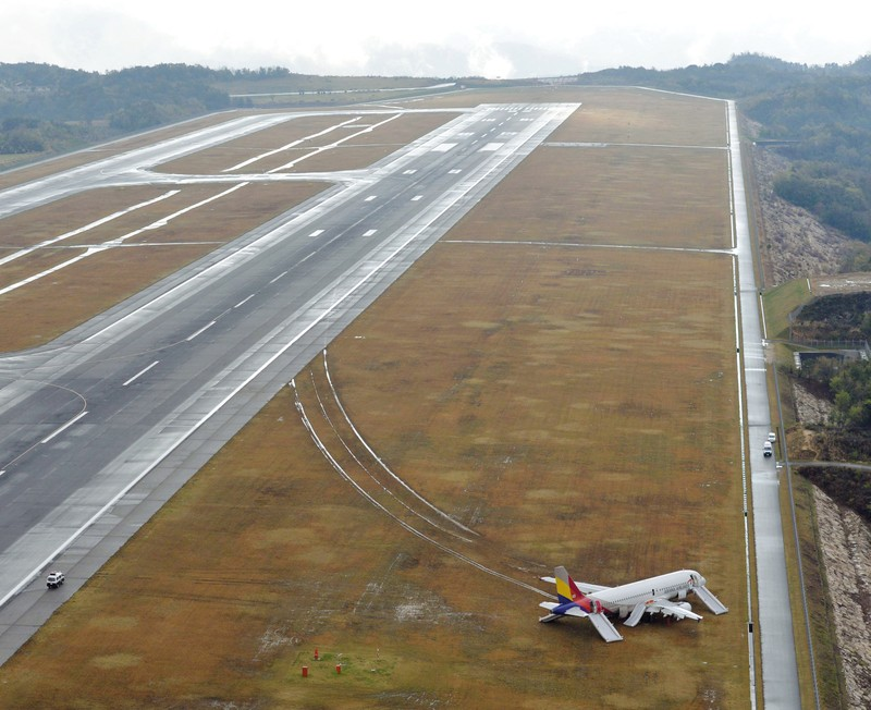 Máy bay Hàn Quốc trượt khỏi đường băng tại Nhật Bản - ảnh 1