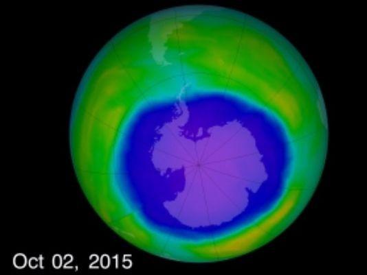 Lỗ hổng ozone lớn nhất vào ngày 2-10-2015