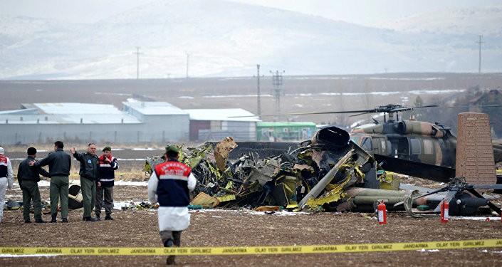 Hiện trường vụ tai nạn trực thăng quân sự Thổ Nhĩ Kỳ.