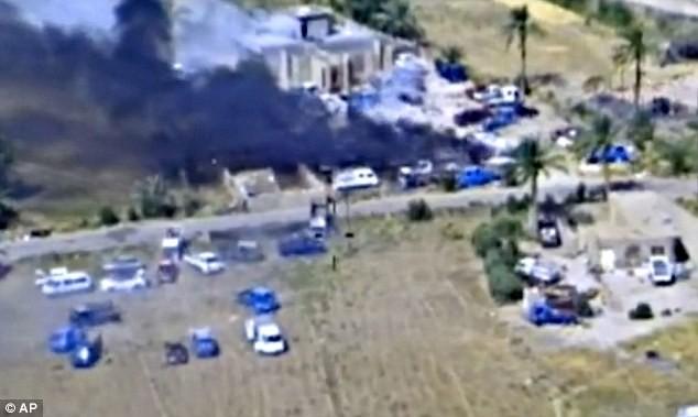 Hình ảnh một vụ không kích tại thành phố Fallujah do không quân Iraq tiết lộ.