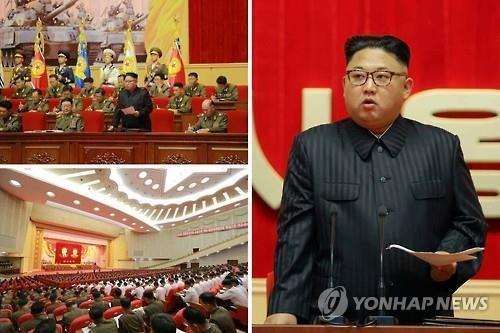 Tại buổi hội nghị gương sáng sĩ quan chỉ huy quân đội và quân nhân, ông Kim Jong-un nhấn mạnh việc tăng cường chuẩn bị chiến đấu. Ảnh: Yonhap