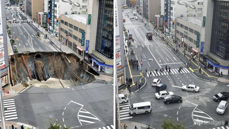 Hố tử thần lấp thần tốc tại Nhật Bản ... lại sắp sập