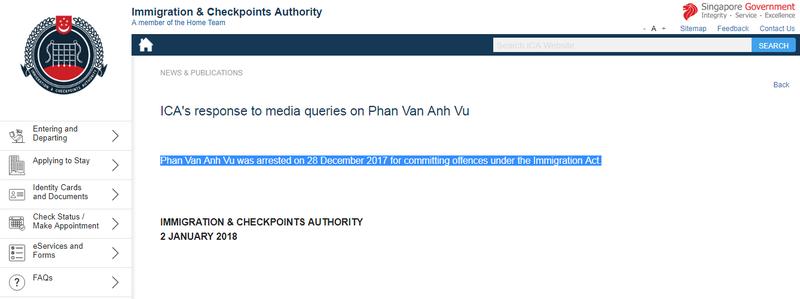 Singapore xác nhận đang tạm giữ ông 'Phan Van Anh Vu' - ảnh 2