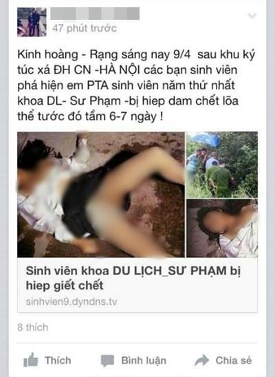 Thông tin và hình ảnh được tung lên mạng xã hội facebook gây hoang mang dư luận.