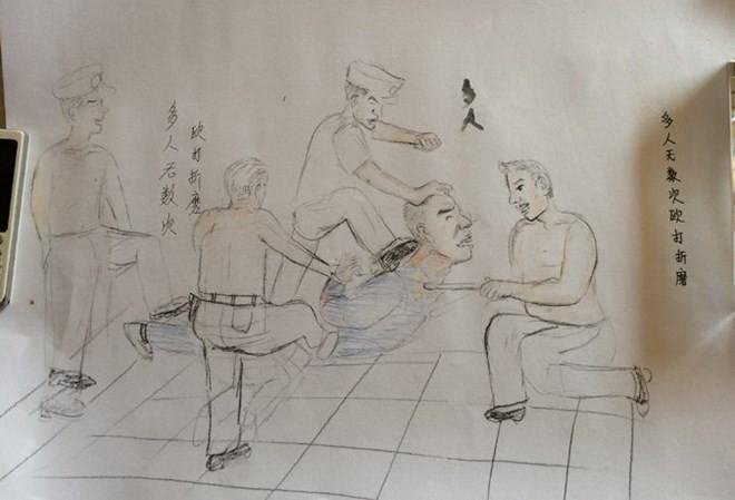 Trung Quốc: Chấn động với những bức vẽ cảnh sát tra tấn tù nhân - ảnh 1