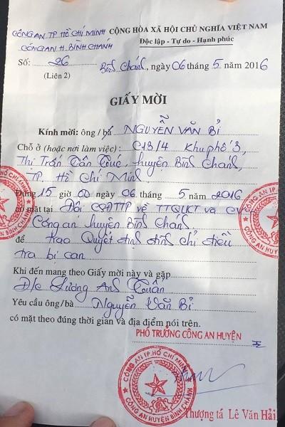 Công an Bình Chánh mời ông Bỉ nhận quyết định đình chỉ bị can - ảnh 2