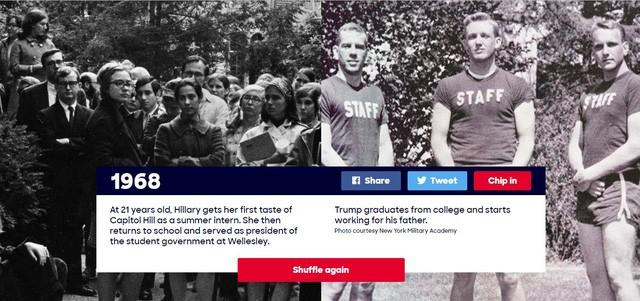 Năm 1968: Hillary Clinton, khi đó 21 tuổi, đã bắt đầu những có những trải nghiệm đầu tiên tại Quốc hội Mỹ trong vai trò thực tập sinh mùa hè. Sau thời gian thực tập, bà Clinton quay trở lại trường và đảm nhận vị trí chủ tịch ban quản trị hội sinh viên tại Wellesley. Trong năm này, ông Trump vừa tốt nghiệp đại học và bắt đầu làm việc cho cha mình.