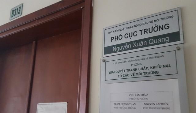 Ông Nguyễn Xuân Quang được Tổng cục Môi trường ưu ái khi bổ nhiệm giữ chức Phó cục trưởng Cục Kiểm soát hoạt động bảo vệ môi trường vào năm 2016.