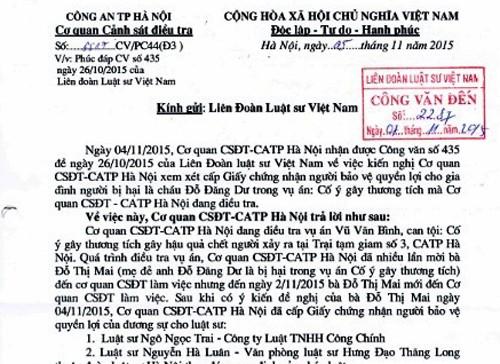 Vụ bị can Đỗ Đăng Dư chết: Cấp giấy chứng nhận cho luật sư - ảnh 1