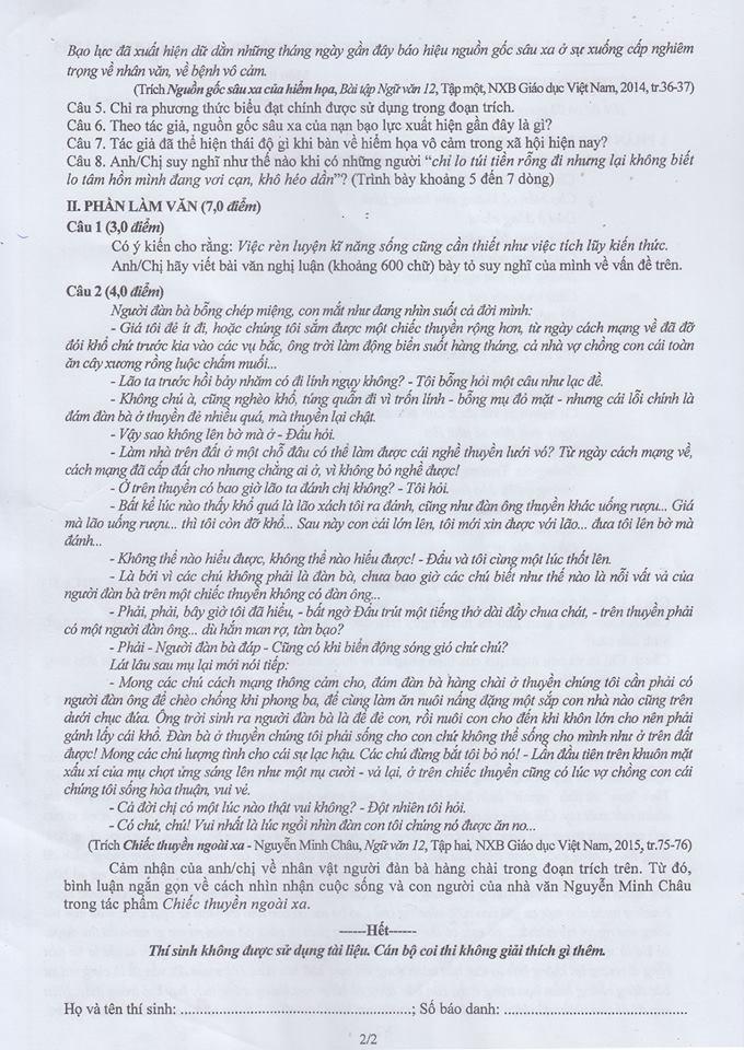 Mời bạn đọc xem đề thi, bài giải môn Văn  - ảnh 3