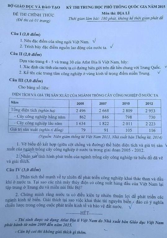 Mời bạn đọc xem đề thi, gợi ý bài giải môn Địa lý  - ảnh 2