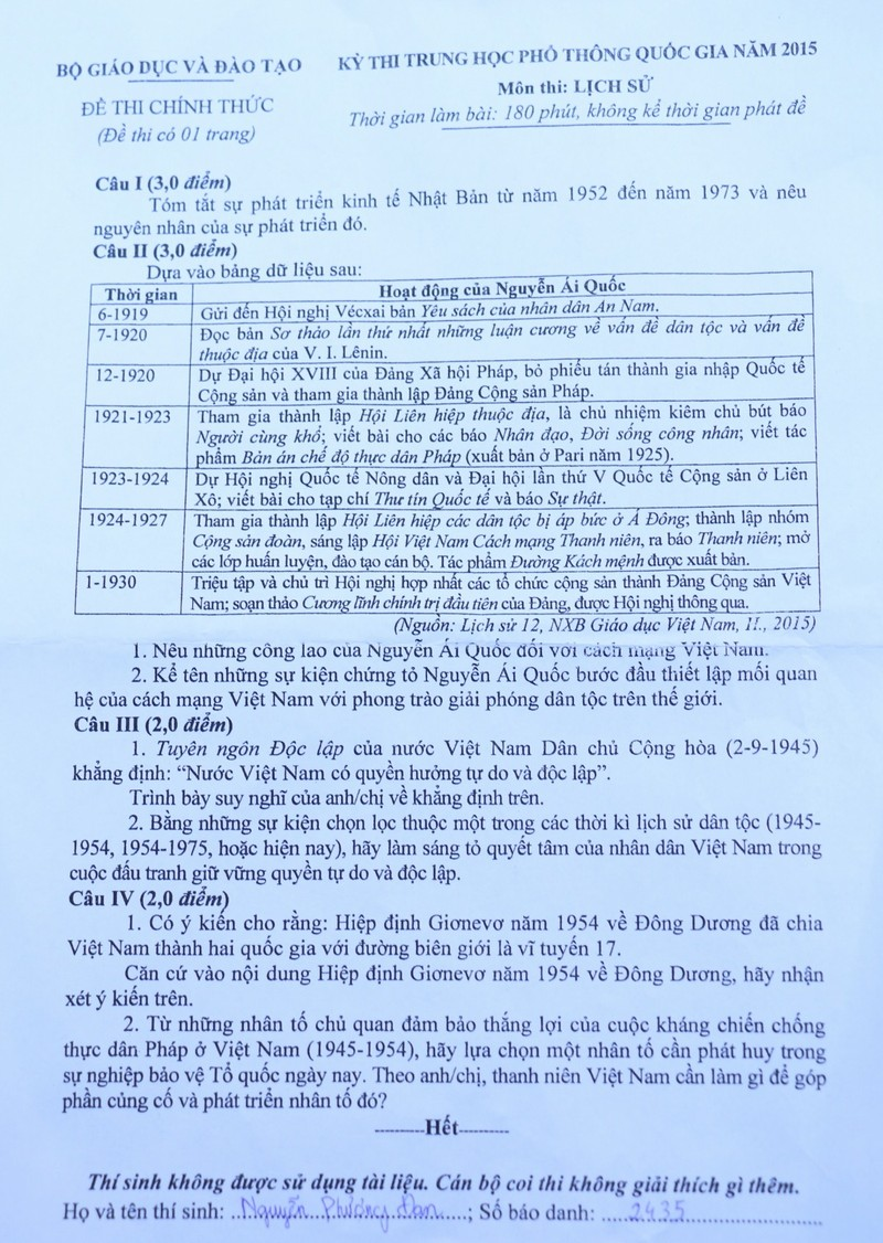 Mời bạn đọc xem đề thi, gợi ý bài giải môn Sử  - ảnh 1