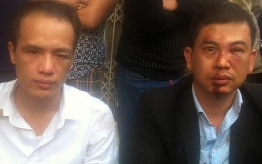 Hai luật sư bị đánh Lê Văn Luân (trái) vàTrần Thu Nam -Ảnh: Facebook