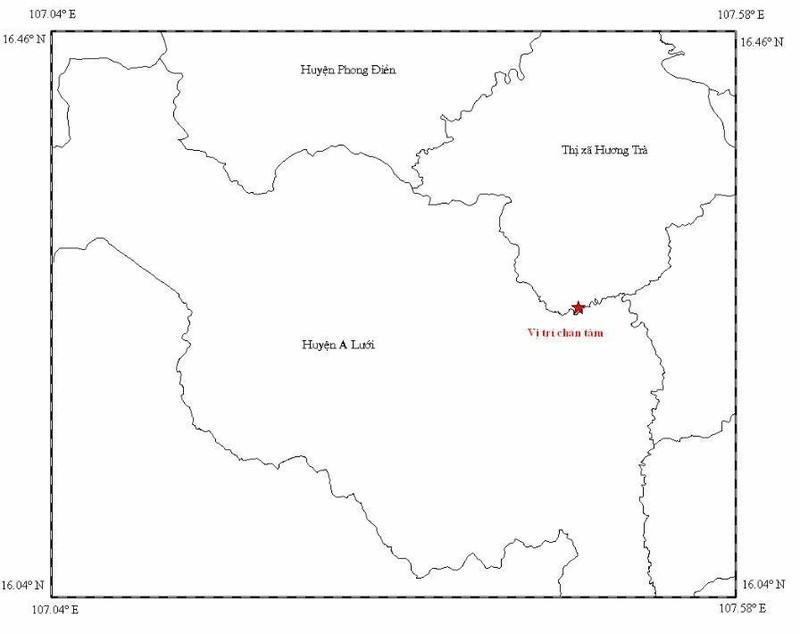Động đất 2,5 độ Richter tại thị xã Hương Trà  - ảnh 1