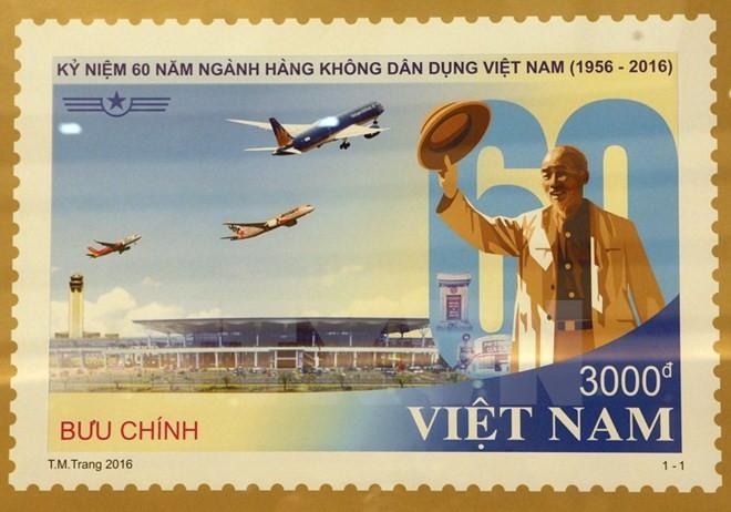 Phát hành bộ tem kỷ niệm 60 ngành hàng không dân dụng Việt Nam - ảnh 1