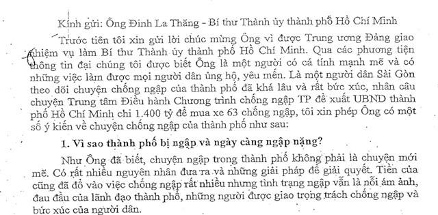 Tâm thư chống ngập 7.000 chữ gửi Bí thư Đinh La Thăng - ảnh 1