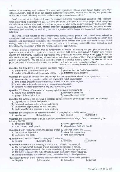 Bài giải gợi ý và đề thi môn Anh văn  - ảnh 7