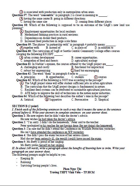Bài giải gợi ý và đề thi môn Anh văn  - ảnh 14
