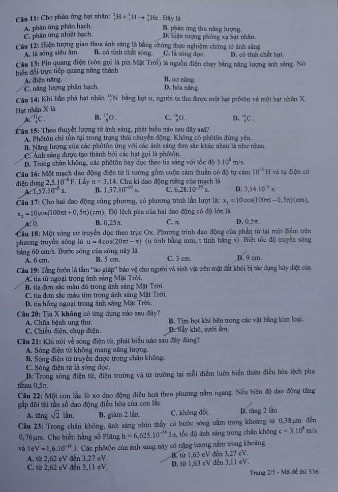 Gợi ý bài giải, đề thi môn Vật lý  - ảnh 3