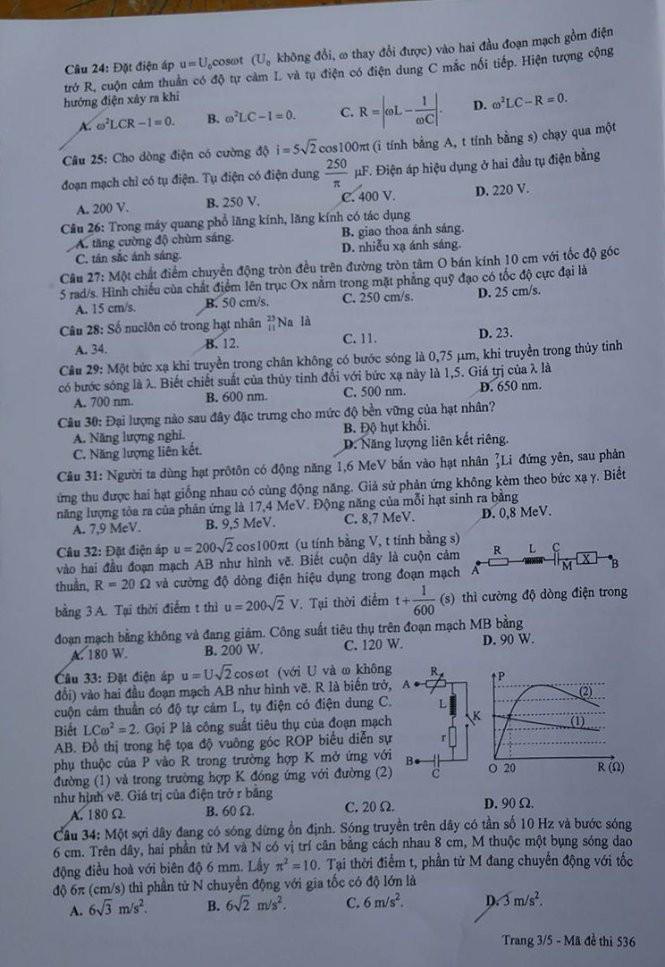 Gợi ý bài giải, đề thi môn Vật lý  - ảnh 4