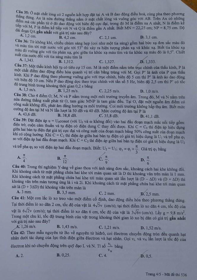 Gợi ý bài giải, đề thi môn Vật lý  - ảnh 5