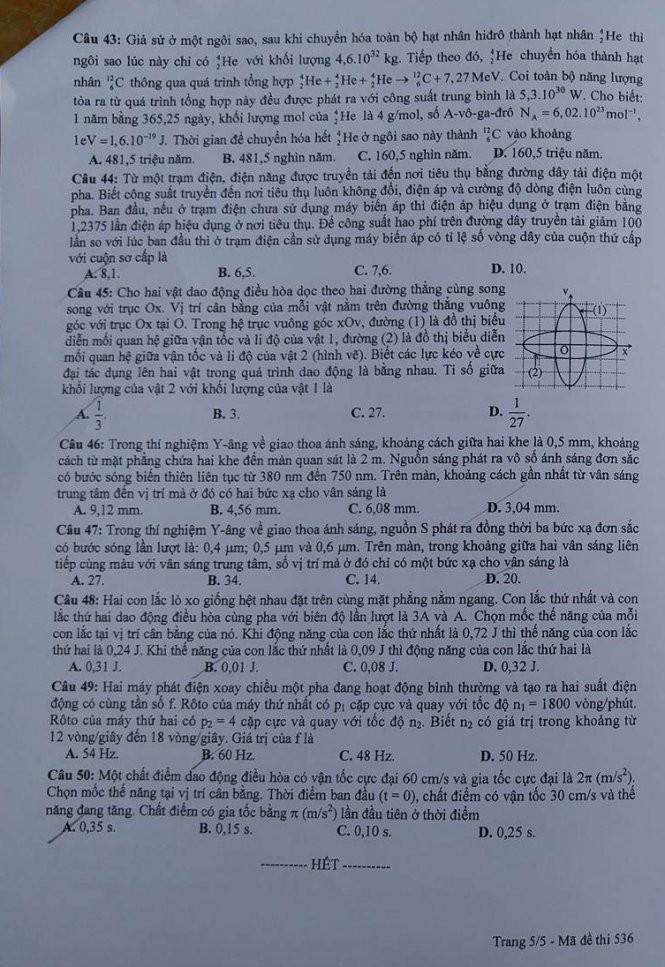 Gợi ý bài giải, đề thi môn Vật lý  - ảnh 6