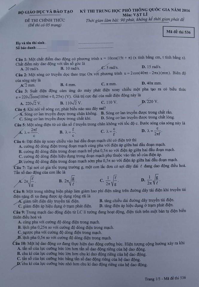 Gợi ý bài giải, đề thi môn Vật lý  - ảnh 2