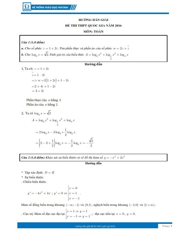 Kỳ thi THPT quốc gia 2016: Gợi ý giải đề thi môn toán  - ảnh 1