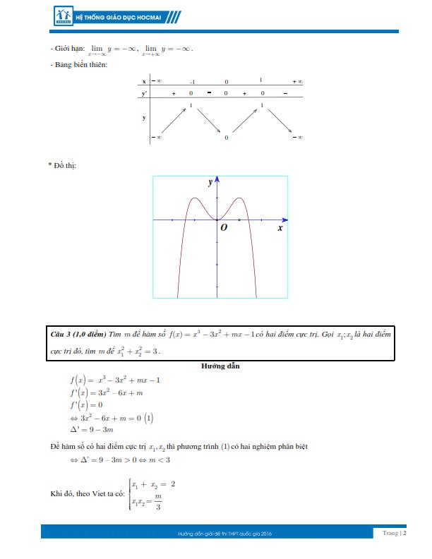 Kỳ thi THPT quốc gia 2016: Gợi ý giải đề thi môn toán  - ảnh 2