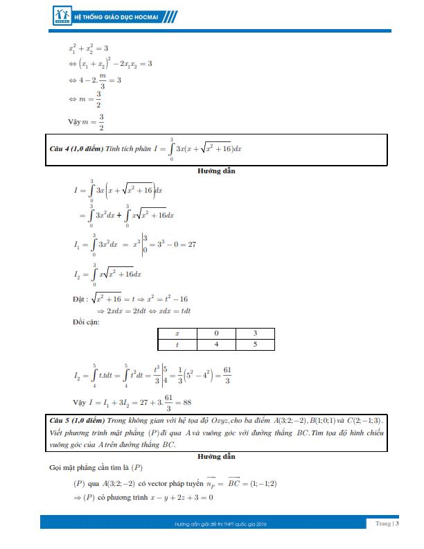 Kỳ thi THPT quốc gia 2016: Gợi ý giải đề thi môn toán  - ảnh 3